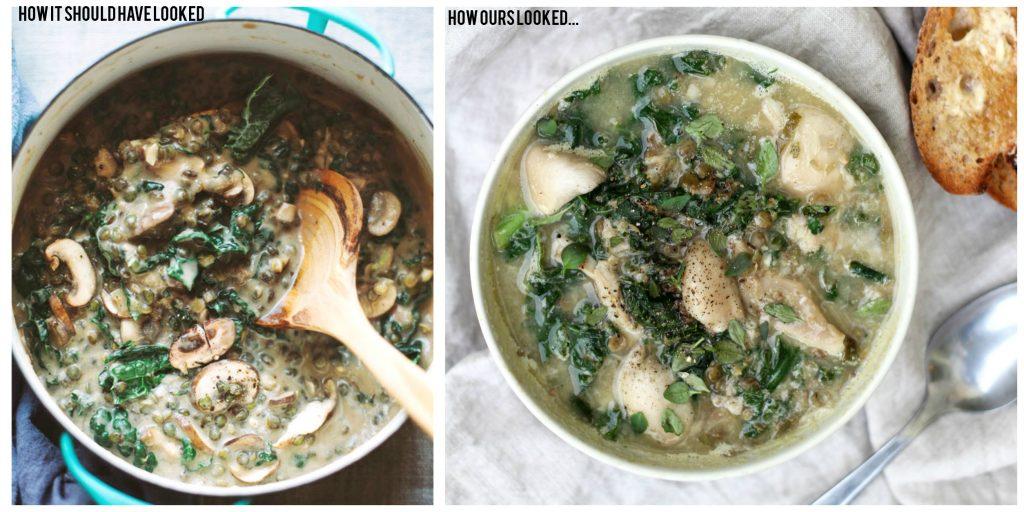 Mushroom Kale and Lentil Soup