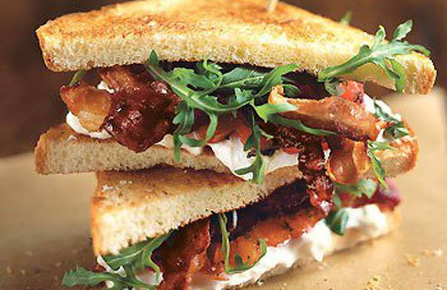 Crispy Pancetta, Burrata, And Tomato Sandwiches