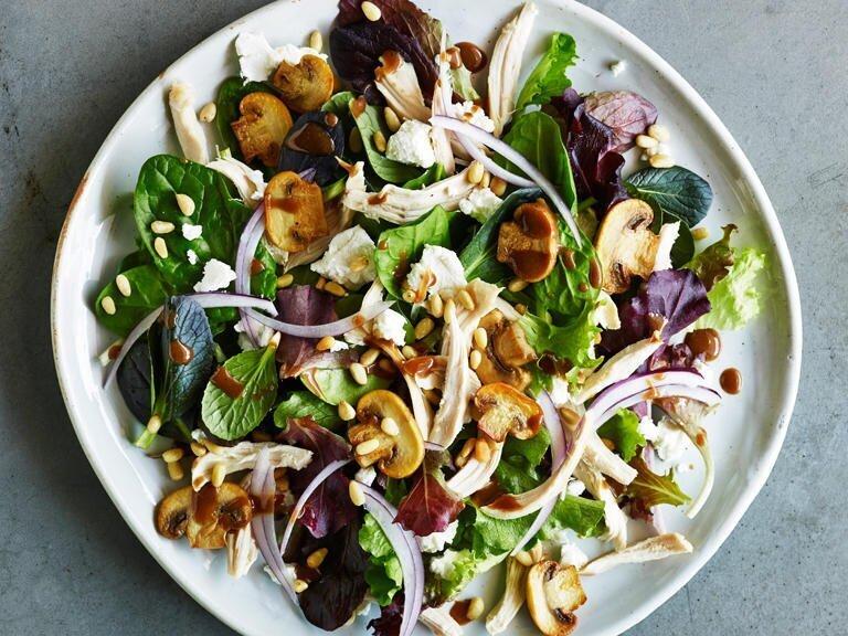 Warm Chicken and Sautéed Mushroom Salad