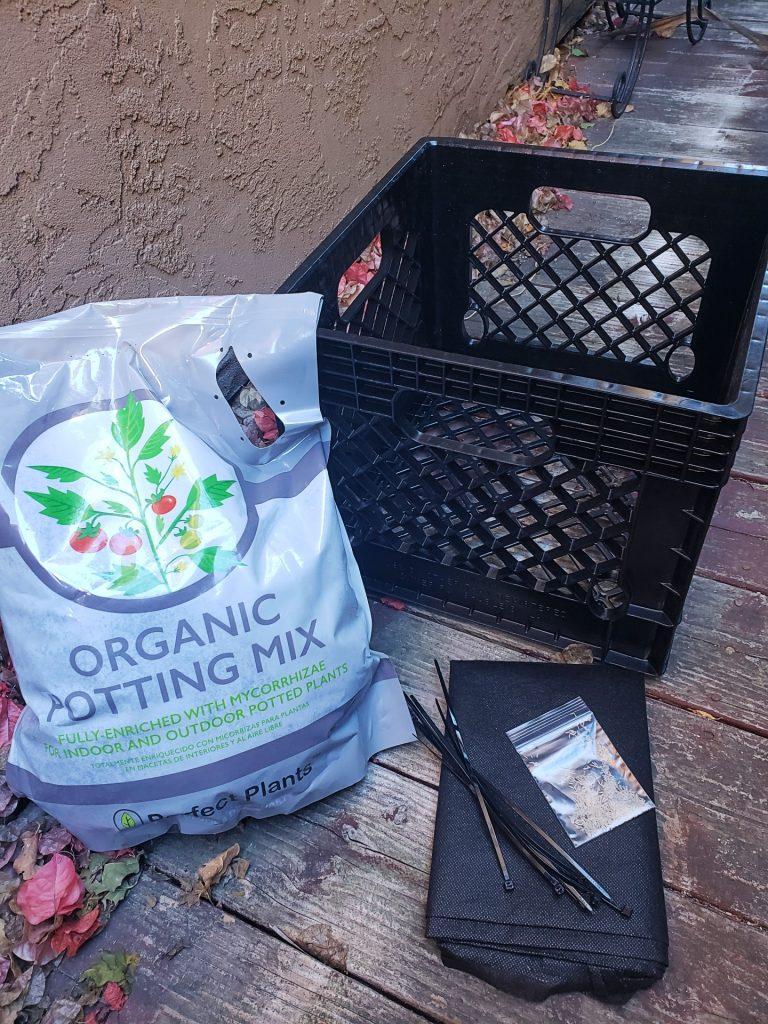 Supplies for milk crate garden