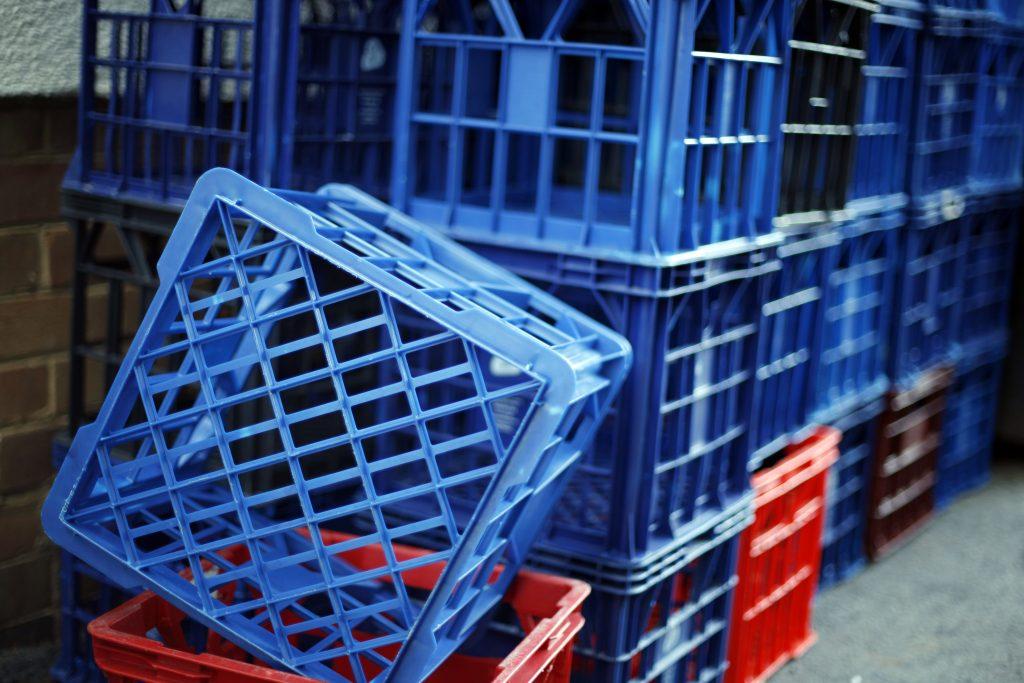 Stack of milk crates