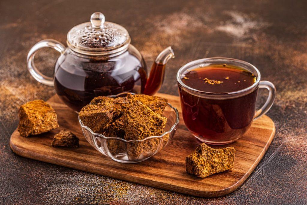 Tea made from a chaga mushroom infusion