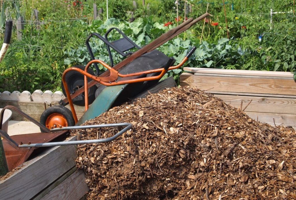 Pile of mulch to be used for deep mulch gardening