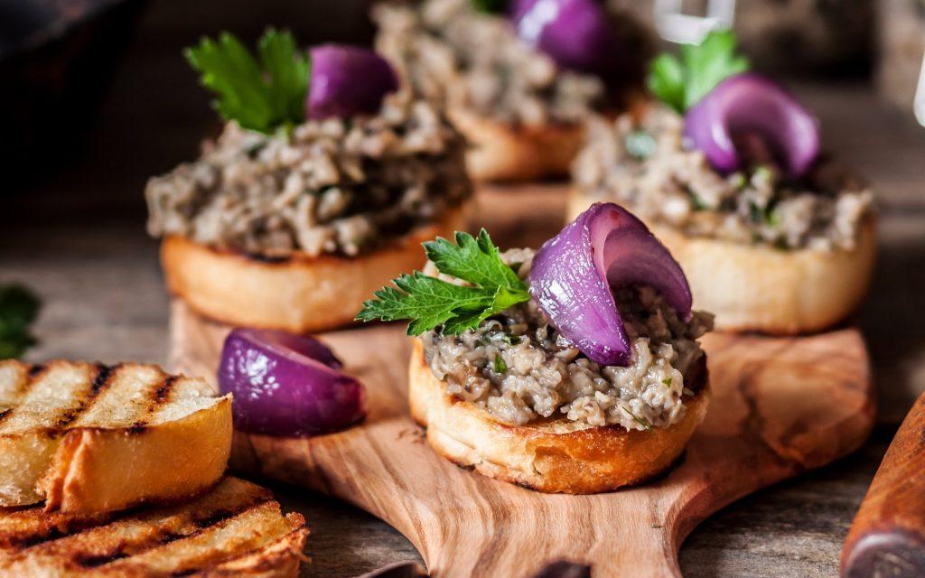 Can you eat mushroom stems? Crostini with mushroom-stem duxelles.