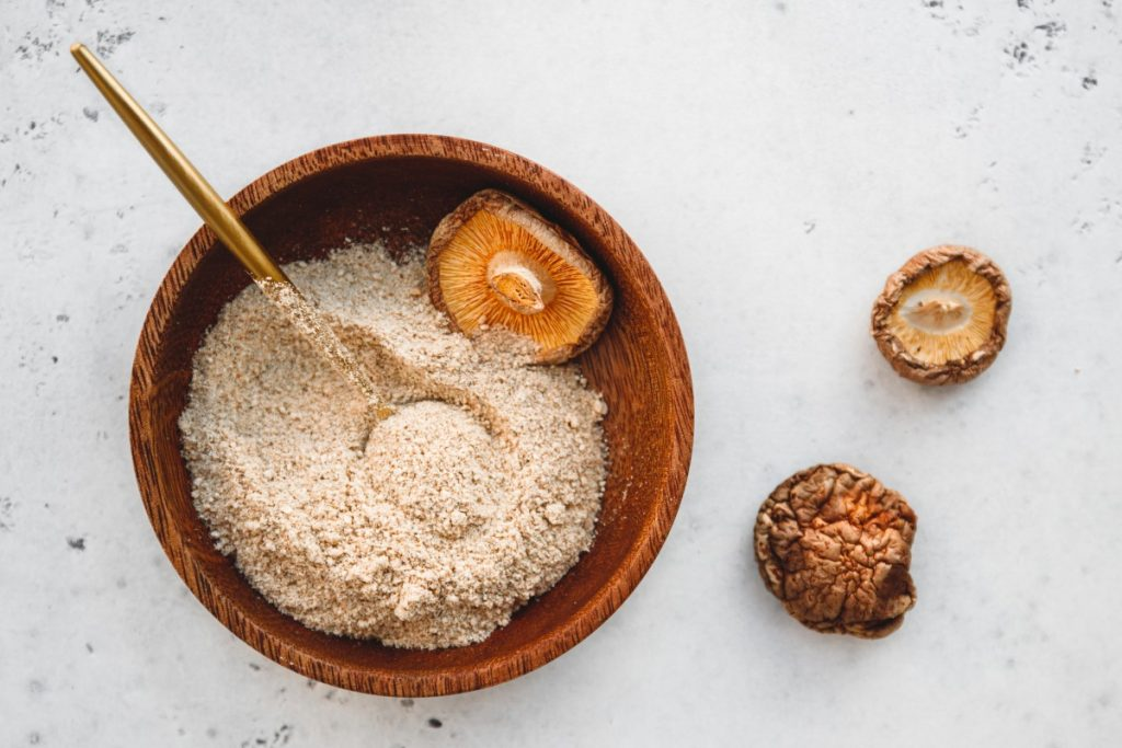 Medicinal mushroom powder made from shiitake mushrooms.
